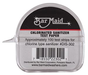 Bar Maid DIS302 Sanitizer Test Strips, Chlorinated