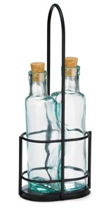 Gemelli™ Olive Oil Bottle & Chrome Rack Set, Cork