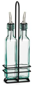 Prima™ Olive Oil Bottle & Black Rack Set, 8-1/2oz Pourer